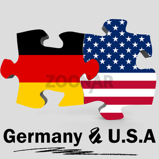 USA and Germany flags in puzzle
