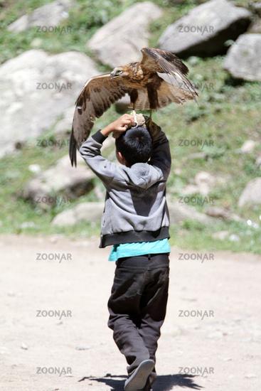 Boy with tamed bird of prey, Grigorievka gorge, Kungei Alatoo Mountains, Kyrgyzstan
