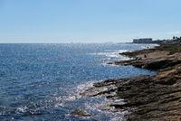 Rocky coastline of Torrevieja. Province of Alicante. Costa Blanca. Spain