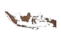 Karte von Indonesien auf rostigem Metall - Map of Indonesia on rusty metal