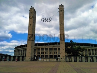 Olympiastadion in Berlin on cloudy day