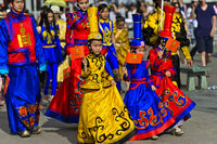 Kids and teenagers in colourful  traditional deel costumes, Ulaanbaatar, Mongolia