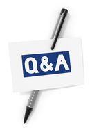 business card a ball pen and the text questions and answers