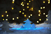 Wooden Christmas Tree, Snow, Glowing Lights