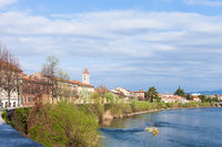 cityscape with waterfront of Adige river in Verona
