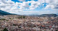 Panoramic photo of Quito capital city at sunset, Ecuador, South America