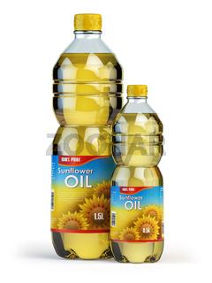 Sunflower or vegetable oil in plastic bottles isolated on white.