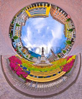 Bolzano main square planet perspective panorama