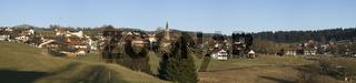 Blick auf den Ort Neuschoenau, Village, NP Byerischer Wald, Deutschland