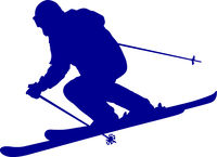 Blue silhouette of a mountain-skier