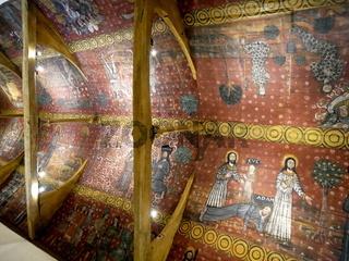 Bemalte Holzdecke,Chapelle Saint Gonery,Plougrescant,Bretagne,Frankreich