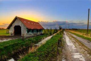 Barn near Dangast at Sunset