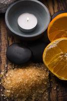 Orange bath salt and fruits