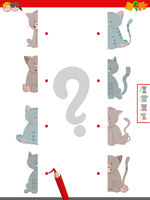 join halves of cats pictures activity game