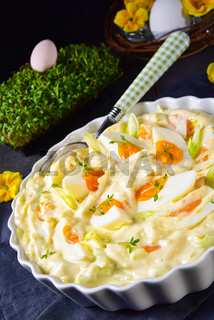 Spring egg salad with leek and garden cress