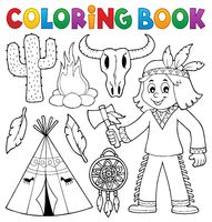 Coloring book Native American theme 2