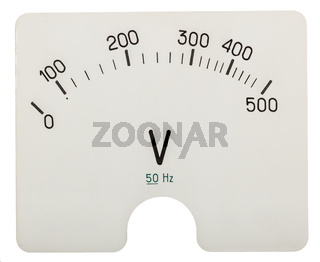 Scale of voltmeter, isolated on white background