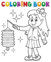 Coloring book girl with paper lantern