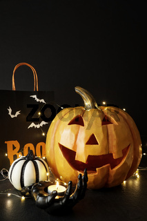 Large Halloween pumpkin with light and decorations