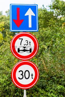 Traffic signs near bridge in nature