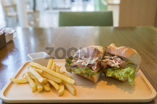 Ham and Cheese Sandwich with French Fries