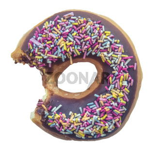 Isolated Bitten Donut