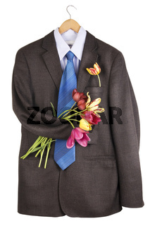 tweed jacket with a bouquet of tulips