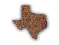 Karte von Texas auf rostigem Metall - Map of Texas on rusty metal