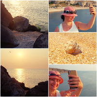 Happy woman having fun on vacations making selfie. Holiday fun collage of toned images Happy woman having fun on vacations making selfie. Holiday fun collage of toned images