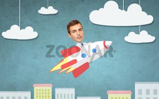 businessman flying on rocket above cartoon city
