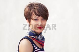 Happy young fashion woman walking outdoor