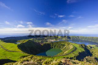 Blick auf die Vulkankrater von Sete Citades, Sao Miguel, Azoren, Portugal