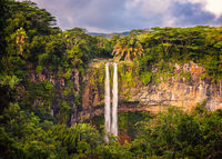 Beautiful panorama of Chamarel waterfall