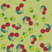 Gooseberry and cherry cartoon seamless texture 649