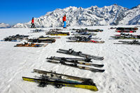 Pairs of skis lying in the snow, Les Contamines-Montjoie, Haute-Savoie, France