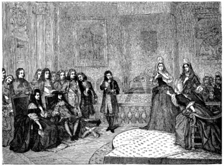 Athalie, represented by the ladies of Saint-Cyr before the king and Madame de Maintenon, vintage engraving.