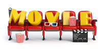 Cinema, movie video concept. Row of seats with popcorm, glasses and clapper board isolated on white.