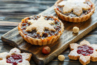 Cakes with dried fruits, orange jam and nuts.