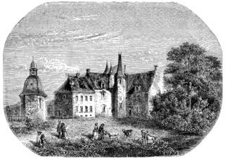 The Rock, Madame de Sevigne home in Brittany, vintage engraving.