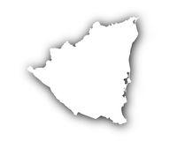 Karte von Nicaragua mit Schatten - Map of Nicaragua with shadow
