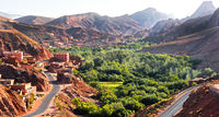 View of the city of Tamellalt in Atlas Mountains in Morocco.