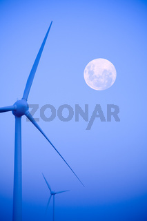 Wind Farm and Full Moon