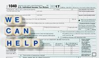 Macro close up of 2017 IRS form 1040 with WE CAN HELP letters