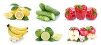 Obst und Gemüse Früchte Apfel Bananen Zitrone Farben Collage Freisteller freigestellt isoliert