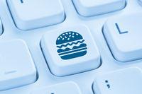 Computer Hamburger Cheeseburger Fast Food essen online bestellen liefern blau Tastatur