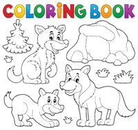 Coloring book with wolves theme 1