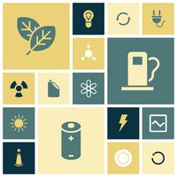 Flat design icons for energy and ecology