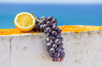 Lemon and bunch of blue grapes on wall