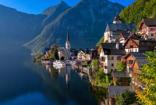 Idyllic alpine lake village Hallstatt,  Austria