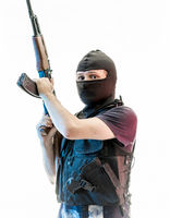 Secret, man armed with balaclava and bulletproof vest, gun and shotgun, kalashnikov